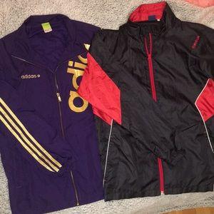 Men's Large Adidas and Reebok windbreaker bundle